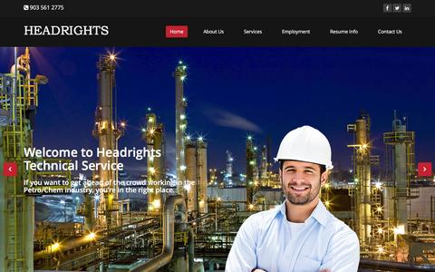 Screenshot of Home Page headrights.com - Home | Headrights Technical Service - captured Jan. 27, 2016