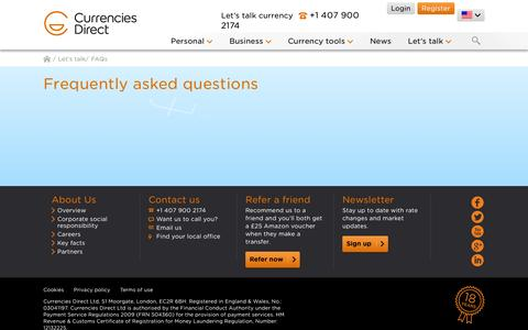 Screenshot of FAQ Page currenciesdirect.com - FAQs | Currencies Direct - captured Sept. 22, 2014