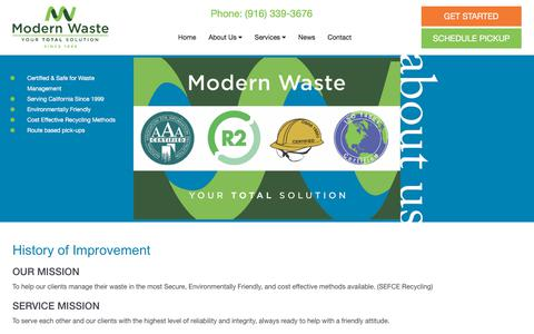 Screenshot of About Page modernwastesolutions.com - About Us | Modern Waste Solutions - captured Nov. 16, 2017