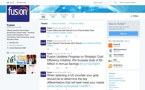 Screenshot of Twitter Page twitter.com - Fusion (@FusionConnectSM) | Twitter - captured Nov. 23, 2015