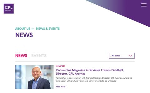 Screenshot of Press Page cplaromas.com - News - captured May 12, 2017