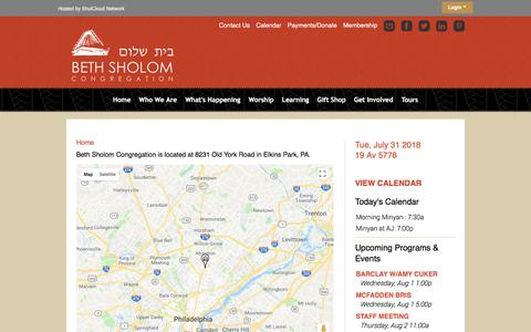 Screenshot of Maps & Directions Page bethsholomcongregation.org - Directions - Beth Sholom Congregation - captured Aug. 1, 2018