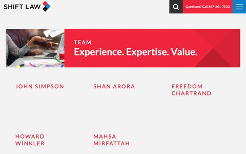 Screenshot of Team Page shiftlaw.ca - Shift Law | Team  Toronto - captured March 23, 2019