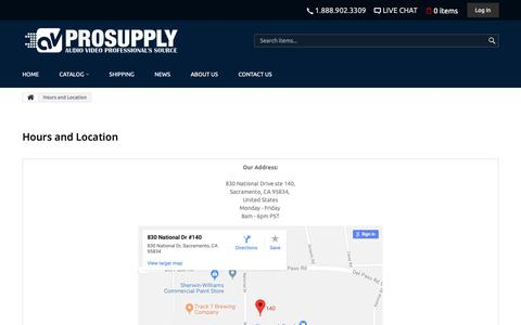 Screenshot of Hours Page avprosupply.com - Hours and Location | AVProSupply - captured Oct. 2, 2018