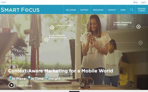 Screenshot of Home Page pivotlink.com - Context-Aware Marketing for a Mobile World | SmartFocus - captured Sept. 23, 2014