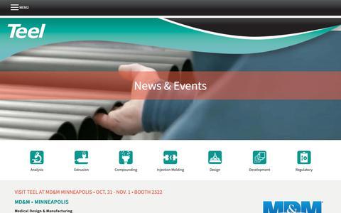 Screenshot of Press Page teel.com - News & Events   Teel Plastics - captured Nov. 19, 2018