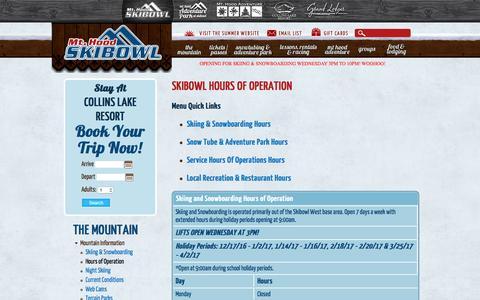 Screenshot of Hours Page skibowl.com - Hours of Operation - captured Dec. 6, 2016