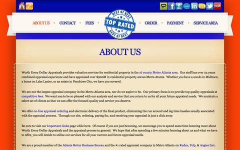 Screenshot of About Page wortheverydollar.com - About Us - Metro Atlanta's #1 Rated Appraiser / Appraisal Company - captured Nov. 5, 2014