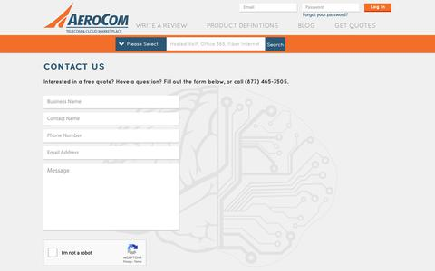 Screenshot of Contact Page aerocominc.com - Contact - captured Nov. 12, 2018