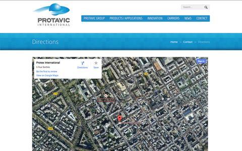 Screenshot of Maps & Directions Page protavic.com - Directions - PROTAVIC INTERNATIONAL - captured Oct. 22, 2014