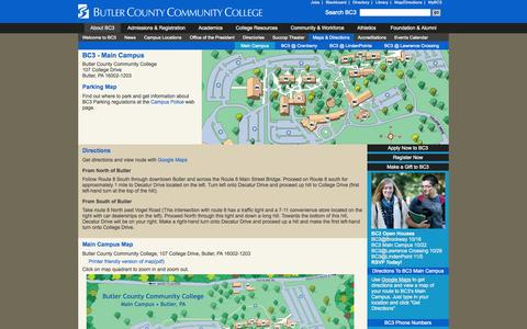 Screenshot of Maps & Directions Page bc3.edu - About BC3 - Maps & Directions - captured Oct. 5, 2014