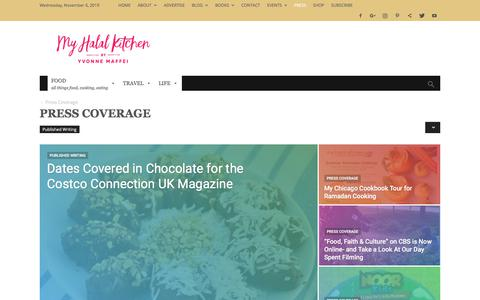 Screenshot of Press Page myhalalkitchen.com - Press Coverage Archives - My Halal Kitchen by Yvonne Maffei- - captured Nov. 6, 2019