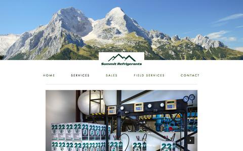 Screenshot of Services Page summitrfgs.com - Services — Summit Refrigerants - captured Oct. 7, 2014