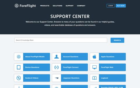 Screenshot of Support Page foreflight.com - ForeFlight - Support Center - captured Sept. 23, 2018