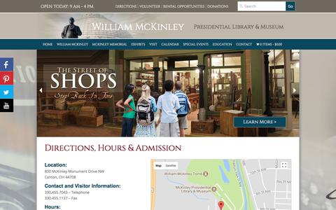 Screenshot of Maps & Directions Page mckinleymuseum.org - Directions and Hours | McKinley Museum - captured Oct. 4, 2017