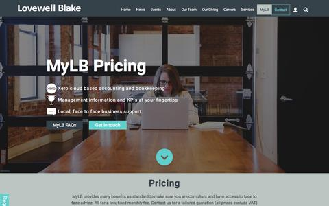 Screenshot of Pricing Page lovewell-blake.co.uk - Pricing   Cloud accounting for a fixed cost   Lovewell Blake - captured Nov. 12, 2016
