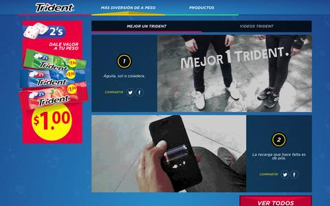 Screenshot of Home Page trident.com.mx - TRIDENT   Más diversión de a peso - captured Jan. 23, 2015
