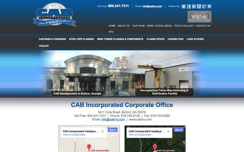 Screenshot of Contact Page Maps & Directions Page cabinc.com - Contact Us - Buford, Georgia - CAB Incorporated - captured Nov. 1, 2014