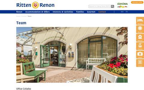 Screenshot of Team Page ritten.com - Renon, South Tyrol environs of Bolzano - Ritten, sunny highplateau near Bolzano - captured Oct. 28, 2018