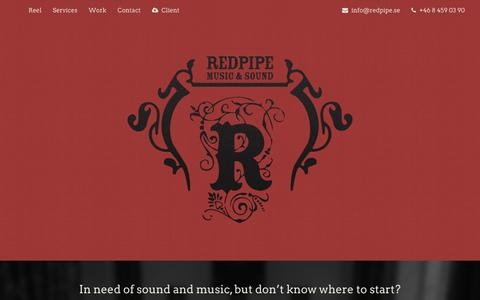 Screenshot of Home Page redpipe.se - Red Pipe - Music And Sound - captured Feb. 16, 2016