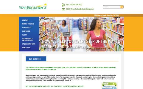 Screenshot of Services Page starbrokerage.com - Star Brokerage | sales, marketing, and retail services - captured Oct. 6, 2014