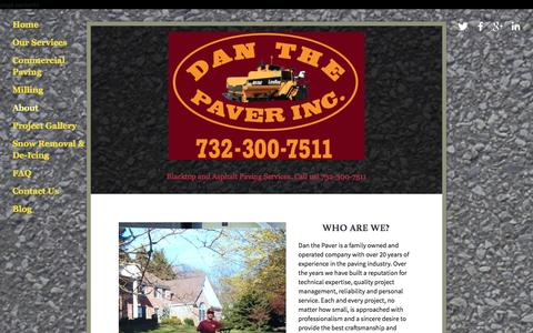 Screenshot of About Page danthepaver.com - About Dan the Paver Ń Asphalt Paving Company | Paving New Jersey | DanthePaver.com - captured Jan. 7, 2016