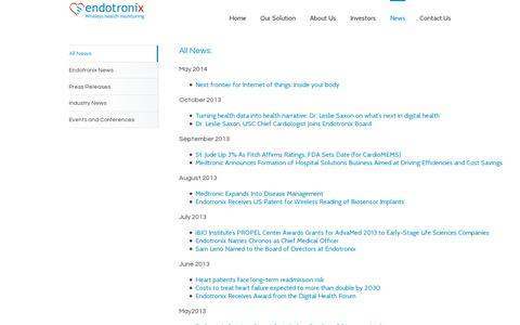 Screenshot of Press Page endotronix.com - Endotronix Wireless Health Monitoring for Heart Failure Management   –  All News - captured July 19, 2014