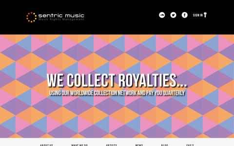 Screenshot of Home Page sentricmusic.com - Sentric Music - captured July 11, 2014