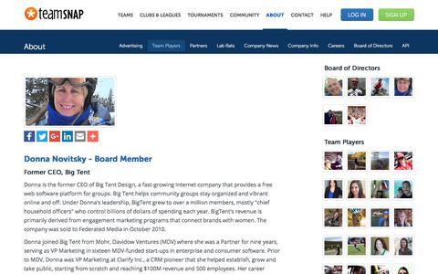 Screenshot of Team Page teamsnap.com - Donna Novitsky - Board Member - captured April 21, 2018