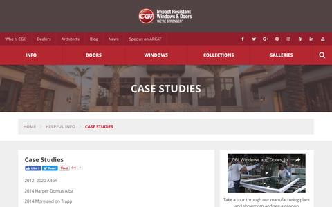 Screenshot of Case Studies Page cgiwindows.com - Case Study on Selecting and Installing Hurricane Windows : CGI Windows - captured Oct. 5, 2016