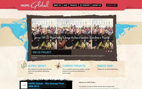 Screenshot of Home Page hope-global.org - HOPE: Global - Serve the poor. Bring hope. - captured Sept. 26, 2014