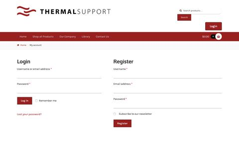 Screenshot of Login Page thermalsupport.com - My account | Thermal Support - captured Oct. 20, 2018