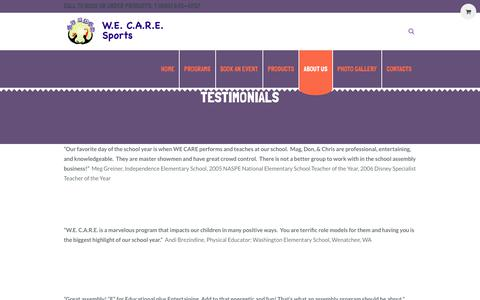 Screenshot of Testimonials Page wecaresports.com - Testimonials - WECARE Sports - captured June 28, 2018