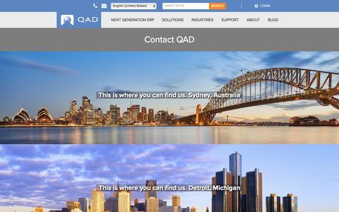 Screenshot of Contact Page qad.com - Contact Us - Global Offices   QAD - QAD2 - captured Oct. 9, 2019