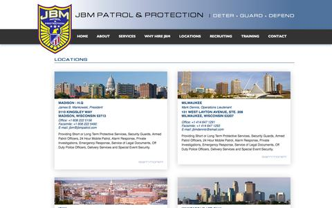 Screenshot of Contact Page Locations Page jbmpatrol.com - JBM Patrol & Protection | Madison, Milwaukee, Twin Cities | Midwest Security Guards - JBM Patrol - captured Oct. 23, 2014