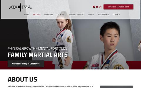 Screenshot of About Page atafma.com - About Us - Learn More About Our Martial Arts Team In Aurora | ATA Family Martial Arts - captured Oct. 2, 2018