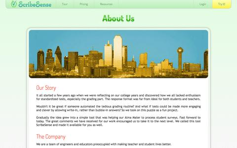 Screenshot of About Page scribesense.com - About Us  - ScribeSense - captured Sept. 30, 2014