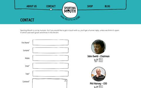 Screenshot of Contact Page sportingmouth.com - Contact - Sporting Mouth - captured Sept. 10, 2014