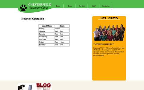 Screenshot of Hours Page chesterfieldvetclinic.com - Chesterfield Veterinary Clinic - captured Oct. 2, 2014