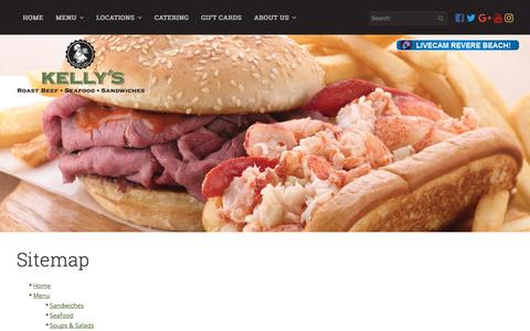 Screenshot of Site Map Page kellysroastbeef.com - Sitemap | Kelly's Roast Beef - captured June 9, 2017