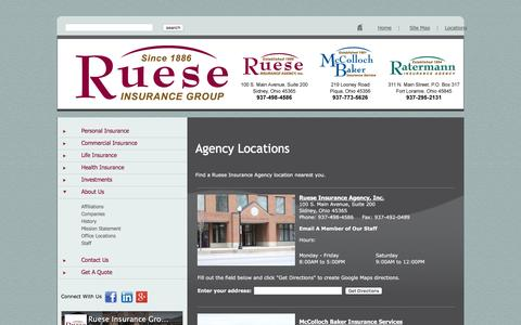Screenshot of Contact Page Locations Page rueseinsurancegroup.com - Ruese Insurance Group - captured Jan. 9, 2016