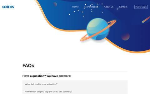 Screenshot of FAQ Page coinis.com - FAQs | Coinis.com - captured Nov. 5, 2018