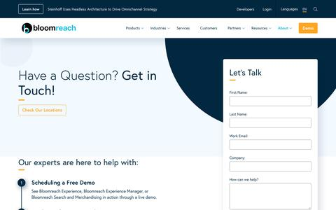 Screenshot of Contact Page bloomreach.com - Contact Us   Bloomreach - captured Nov. 2, 2019