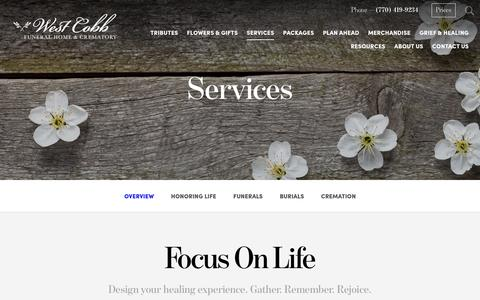 Screenshot of Services Page westcobbfuneralhome.com - Services   West Cobb Funeral Home and Crematory, Inc. - Marietta, GA - captured Dec. 15, 2016