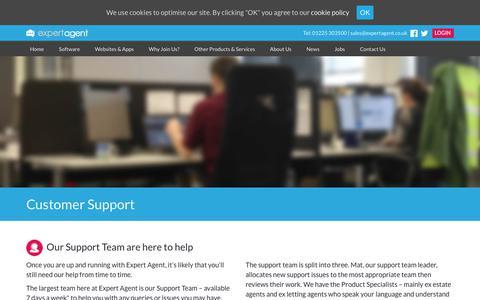 Screenshot of Support Page expertagent.co.uk - Expert Agent Support | Expert Agent Estate & Letting Agent Software - captured Dec. 8, 2018