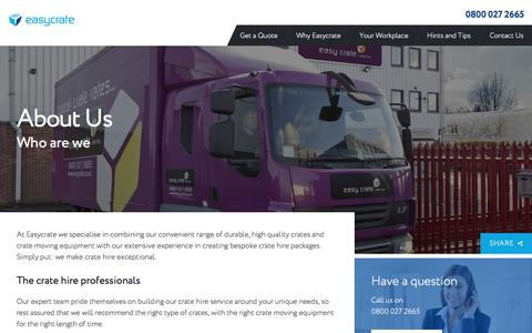 Screenshot of About Page easycrate.co.uk - About Us | Easycrate Crate Hire Service - captured July 16, 2018