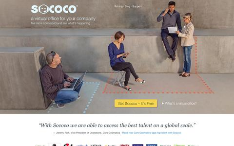 Screenshot of Home Page sococo.com - Sococo - A virtual office for your company - captured Sept. 12, 2014