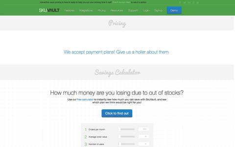 Screenshot of Pricing Page skuvault.com - SkuVault Warehouse Management System · Pricing - captured Aug. 20, 2016