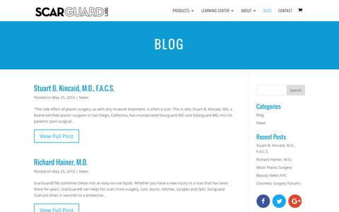Screenshot of Blog scarguard.com - Blog | Scarguard for Scars, Scarring and  Bruises - captured Nov. 19, 2016