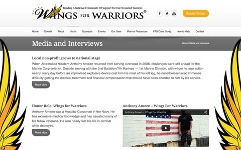 Screenshot of Press Page wingsforwarriors.org - Media and Interviews | Wings for Warriors - captured Feb. 24, 2016